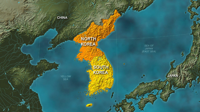 Map of North Korea and South Korea