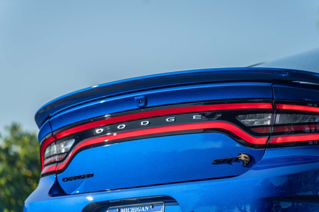 A new rear spoiler, unique to the Charger SRT Hellcat Widebody,