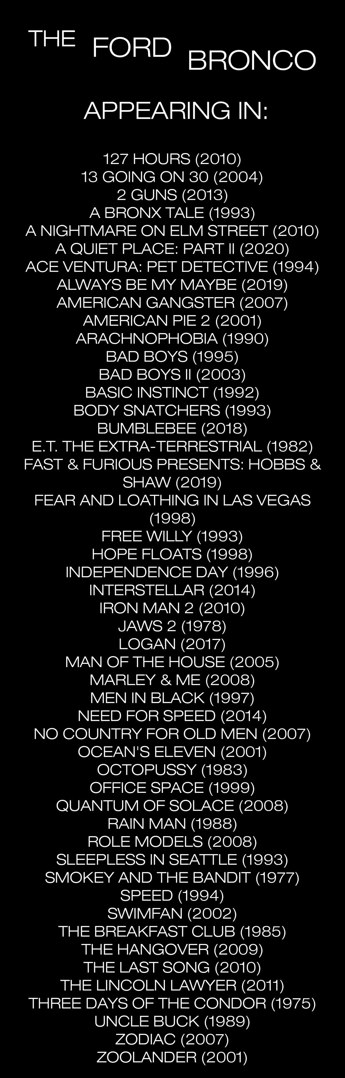Bronco Movie List