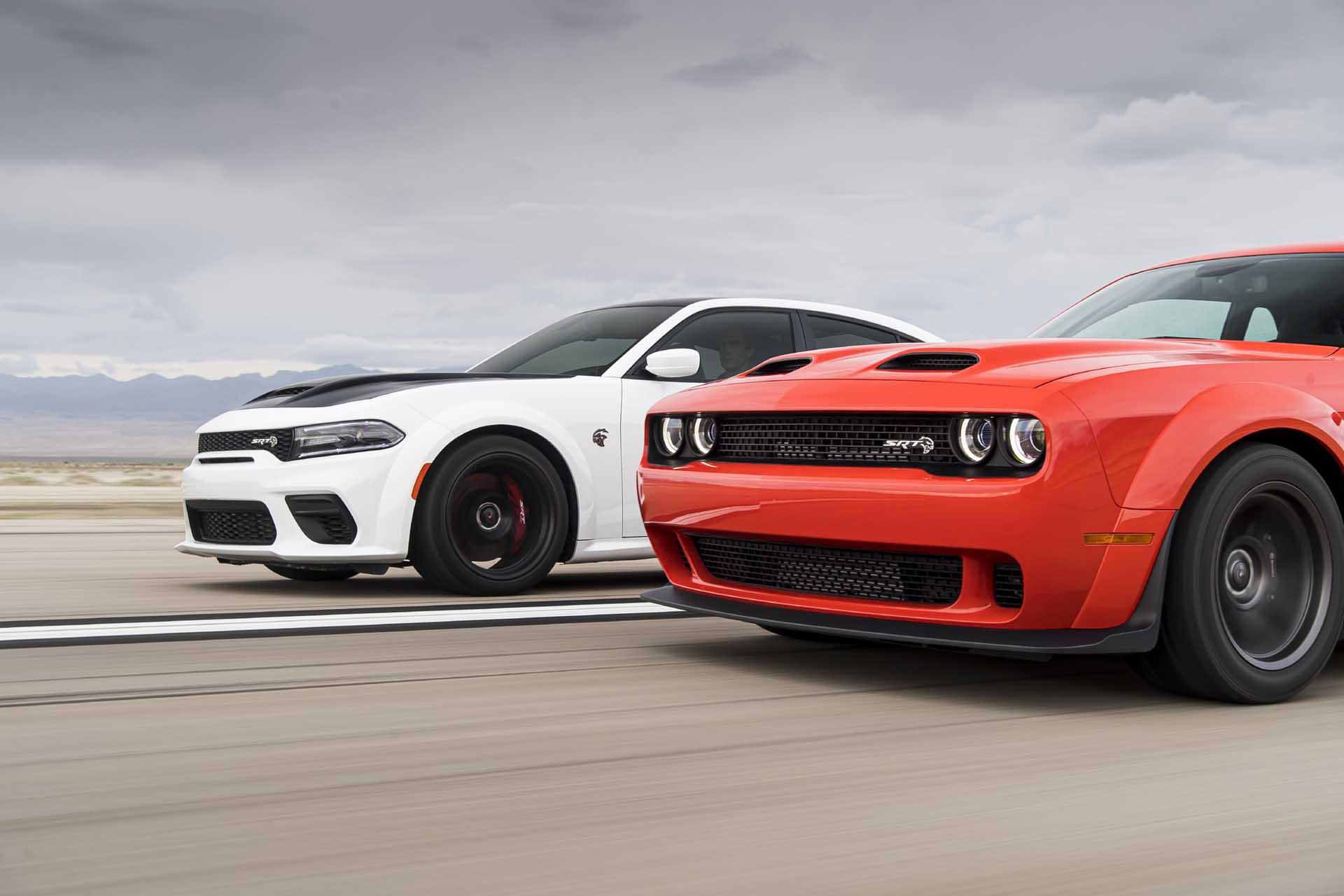 2021 Dodge Charger SRT Hellcat (left) and 2021 Dodge Challenger